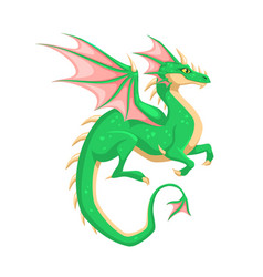 Magic dragon winged green dragon fantasy vibrant vector