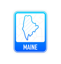 Maine - us state contour line in white color vector