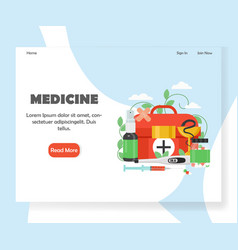 medicine website landing page design vector image