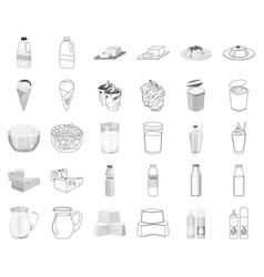 Milk product monochromeoutline icons in set vector