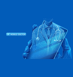 Mobile doctor app on blue vector