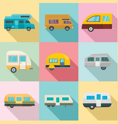 motorhome car trailer house icons set flat style vector image