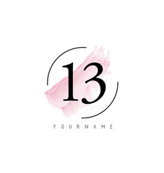 Number 13 watercolor stroke logo design vector