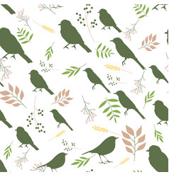 Pattern with birds and branches vector