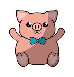 Pig kawaii cartoon vector