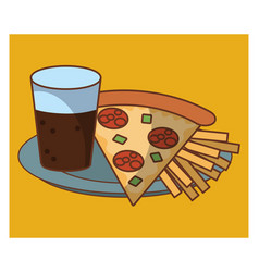 Pizza fast food combo vector