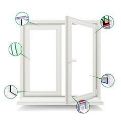 Plastic window window frame structure vector
