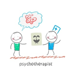 psychotherapist shows the patient image test vector image