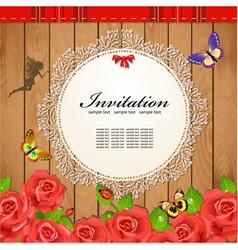 Retro Rose Invitation Card vector image