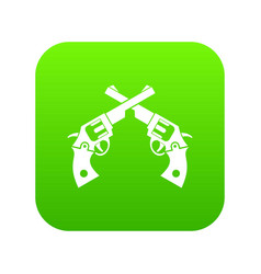 revolvers icon digital green vector image