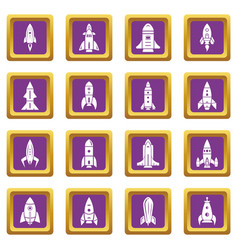 rocket icons set purple square vector image