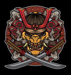 Samurai mask traditional tattoo vector