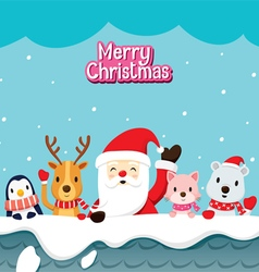 Santa Claus And Animals On Roof vector image