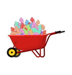 santa claus wheelbarrow and cockerel candy xmas vector image