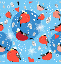 seamless christmas pattern red bullfinches vector image
