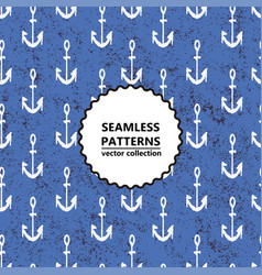 seamless pattern black anchor on a blue background vector image