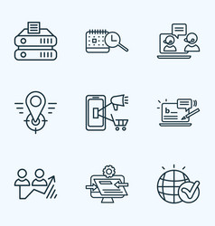 search icons line style set with mobile marketing vector image
