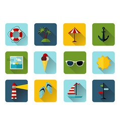 Set of 12 square icons with long flat shadow vector image