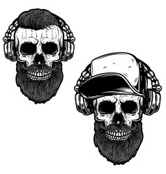 set of bearded skull in headphones design element vector image