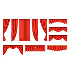 Set of red curtains with pelmets for theater stage vector