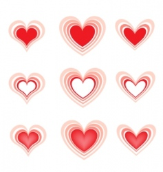 set of the beautiful hearts2 vector image