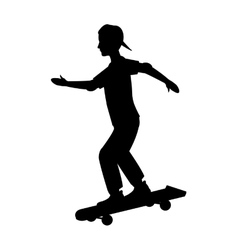 Silhouette guy cap young skating vector