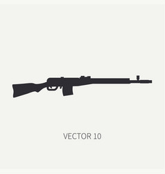 Silhouette line flat military icon rifle vector