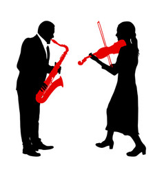 silhouettes a musician playing the violinon snd vector image