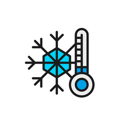 Snowflake with a thermometer low temperature vector