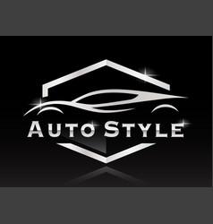 Sports car silhouette auto logo vector