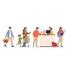 store queue cartoon waiting line food shopping vector image