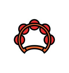 tambourine filled line icon vector image
