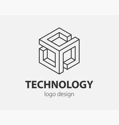 Technology logo line design logotype for digital vector