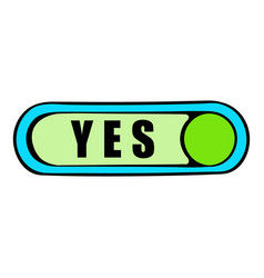 toggle switch in yes position icon cartoon vector image