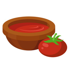 tomato soup in a bowl vegetarian diet vector image