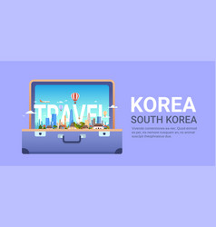 Travel to south korea template poster seoul vector