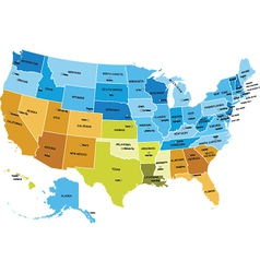 usa map with names states vector image