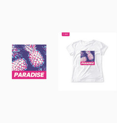 Vivid graphic womens tee with pineapple stylish vector