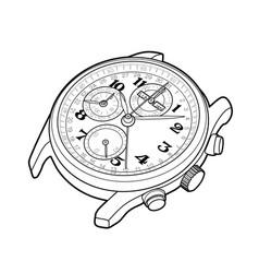 Wrist watch sketch simple line vector