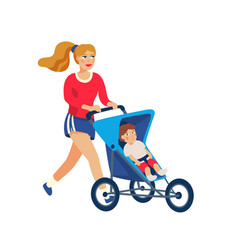 young stylish mother running with baby in stroller vector image