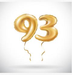 Golden number 93 ninety three metallic balloon vector