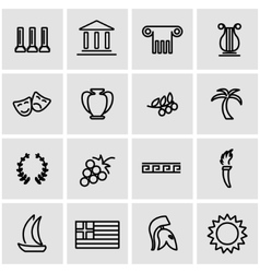 line greece icon set vector image vector image