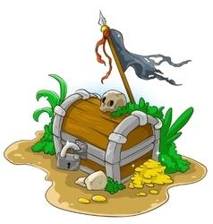 Pirate treasure chest vector image