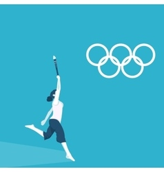 a girl torchbearer at the Olympics vector image