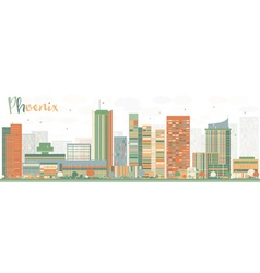 Abstract Phoenix Skyline with Color Buildings vector image