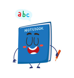 Cute and funny smiling school notebook notepad vector