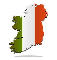 map of ireland with flag vector image vector image