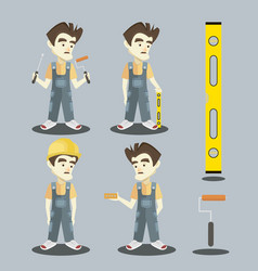 set of young builder vector image
