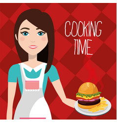cute woman cooking in the kitchen vector image