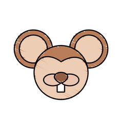 Drawing mouse face animal vector